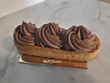 Tartelette chocolat et insert de framboises fraîche