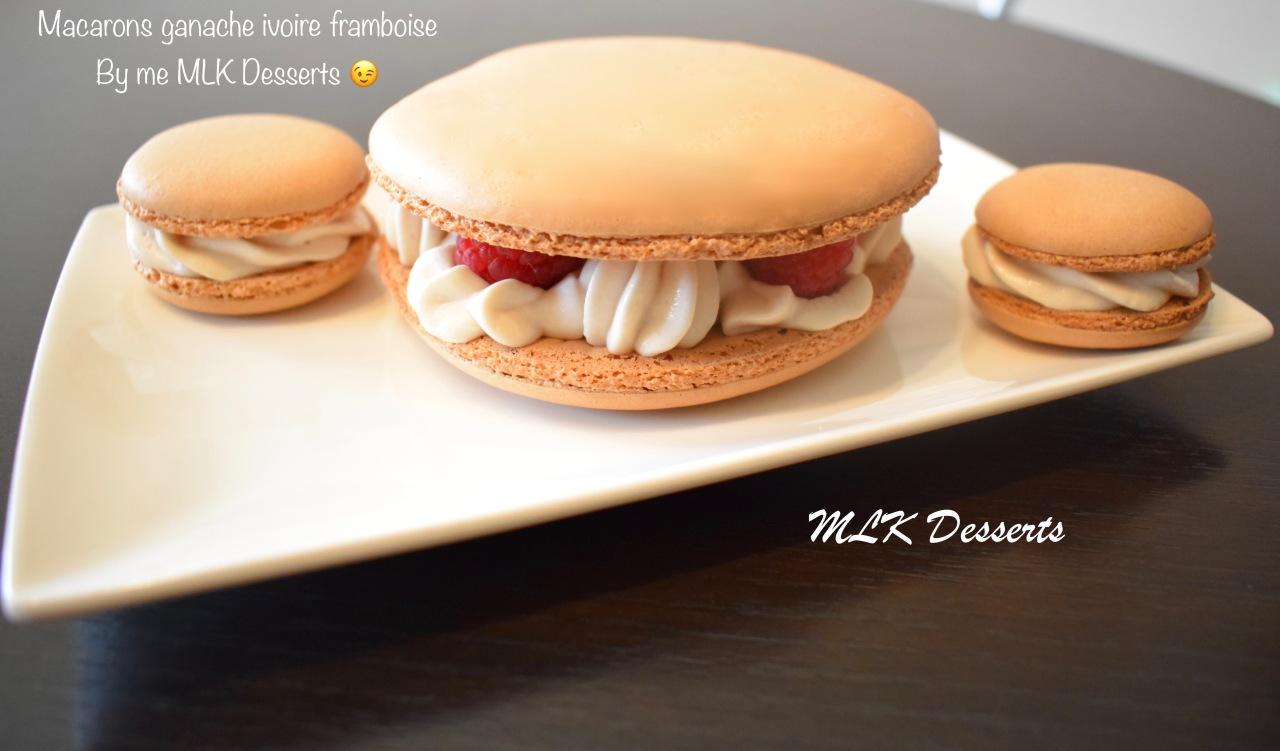 Macarons ganache ivoire framboise